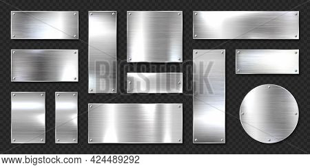 Realistic Shiny Metal Banners Set. Brushed Steel Plate With Screws. Polished Silver Metal Surface. V