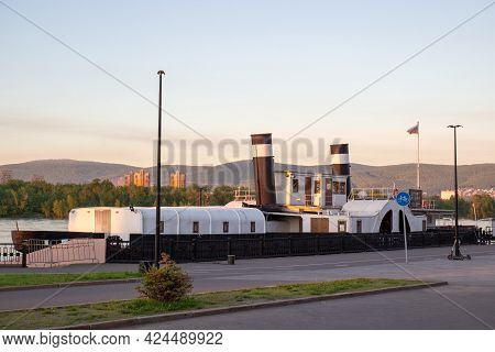 Krasnoyarsk, Russia - June 11, 2021: Steamer-museum St. Nicholas In The City Of Krasnoyarsk, Russia