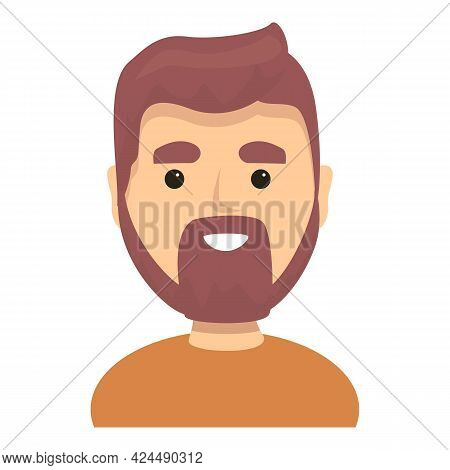Bearded Handsome Man Icon. Cartoon Of Bearded Handsome Man Vector Icon For Web Design Isolated On Wh