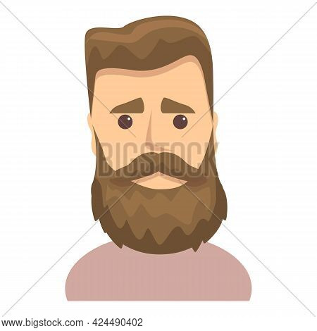 Sad Bearded Guy Icon. Cartoon Of Sad Bearded Guy Vector Icon For Web Design Isolated On White Backgr