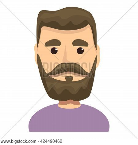 Man With Beard And Mustache Icon. Cartoon Of Man With Beard And Mustache Vector Icon For Web Design