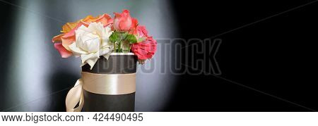 Sorrow Flowers On Black And White Background. Mourning And Sadness Concept