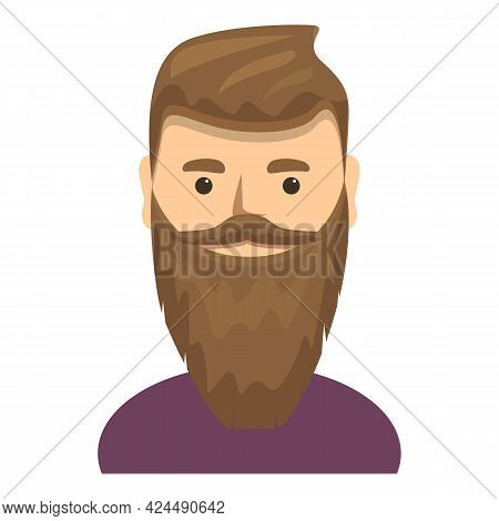 Handsome Man With Stylish Beard Icon. Cartoon Of Handsome Man With Stylish Beard Vector Icon For Web