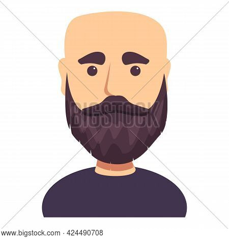 Bald Dark Haired Man With Beard Icon. Cartoon Of Bald Dark Haired Man With Beard Vector Icon For Web
