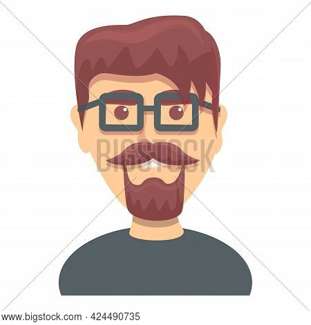 Bearded Guy With Glasses Icon. Cartoon Of Bearded Guy With Glasses Vector Icon For Web Design Isolat