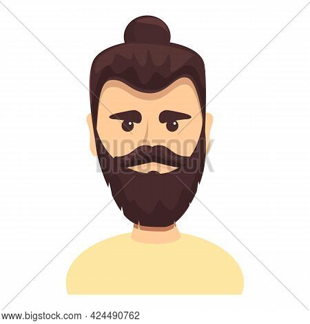 Bearded Hippie Icon. Cartoon Of Bearded Hippie Vector Icon For Web Design Isolated On White Backgrou