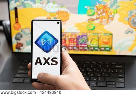 Russia Moscow 30.05.2021.logo,screenshot Of Blockchain Nft Ethereum Cryptocurrency Game Axie In Lapt