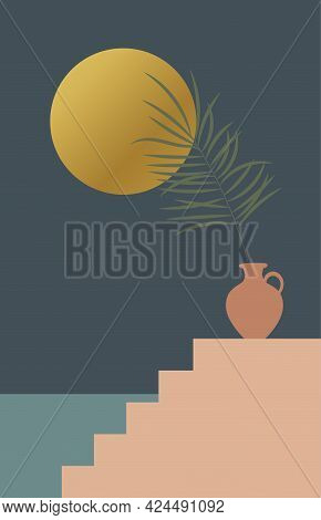 Contemporary Aesthetic Background With Arch, Night Landscape, Herbs In Vase, Golden Moon. Tropical F