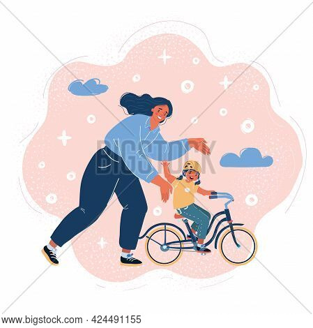Vector Illustration Of Woman Teaching And Gril Learning To Ride A Bicycle. Mother And Daughter