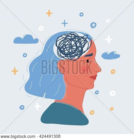 Vector Illustration Of Woman With Mess Line Inside Her Brain