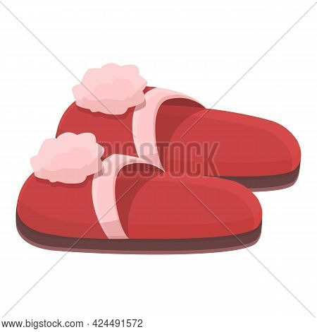 Slippers With Flowers Icon. Cartoon Of Slippers With Flowers Vector Icon For Web Design Isolated On