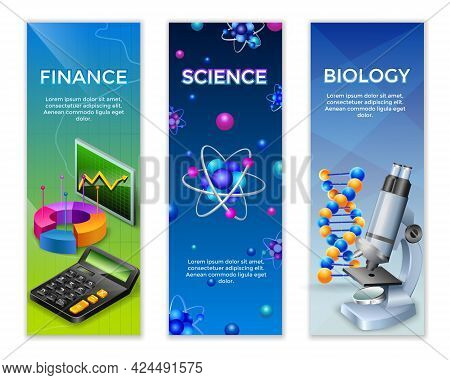 Science Vertical Banners Set With Finance Statistic Design Elements For Chemical And Biological Rese