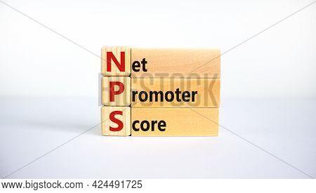 Nps Net Promoter Score Symbol. Wooden Blocks With Words 'nps Net Promoter Score'. Beautiful White Ba