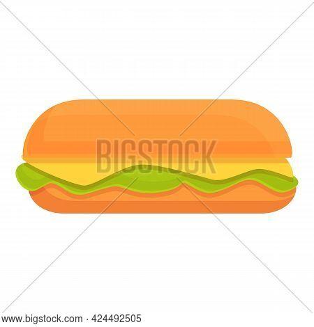 Takeaway Vegetarian Hot Dog Icon. Cartoon Of Takeaway Vegetarian Hot Dog Vector Icon For Web Design