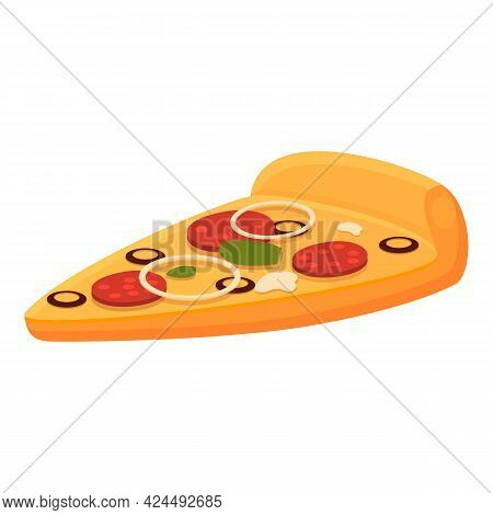 Slice Of Pizza Icon. Cartoon Of Slice Of Pizza Vector Icon For Web Design Isolated On White Backgrou