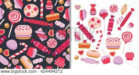Sweets Candies Set With Seamless Pattern And Cute Collection Of Elements Jelly, Lollypops, Cupcakes.