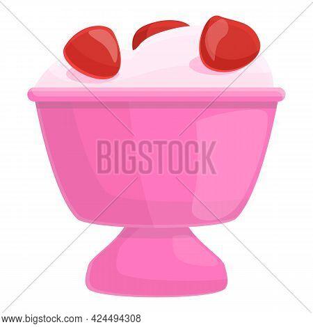 Strawberry Ice Cream Icon. Cartoon Of Strawberry Ice Cream Vector Icon For Web Design Isolated On Wh