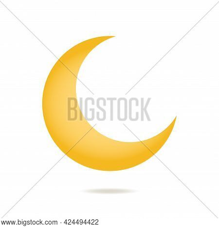 Yellow Crescent Vector Icon For Night Sky. Half Moon Logo. Simple Flat Illustration For Ramadan Kare