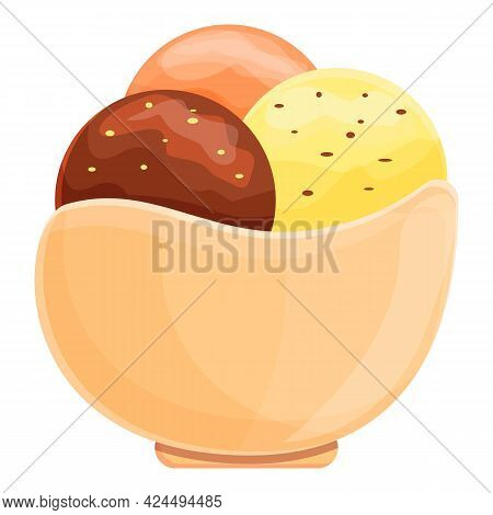 Ice Cream In Waffle Bowl Icon. Cartoon Of Ice Cream In Waffle Bowl Vector Icon For Web Design Isolat
