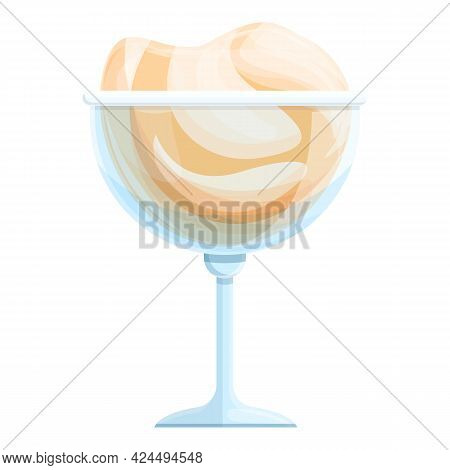 Creamy Ice Cream Icon. Cartoon Of Creamy Ice Cream Vector Icon For Web Design Isolated On White Back