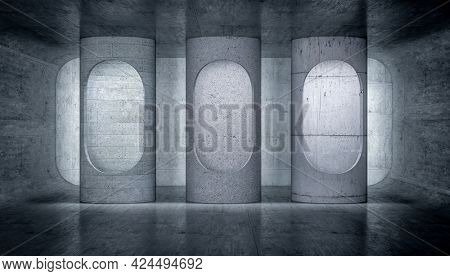capsules with light inside a concrete structure. 3d render.