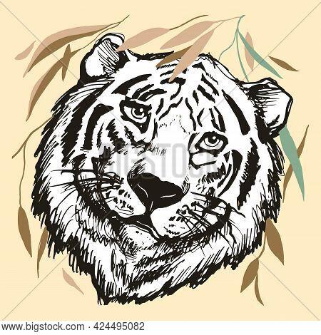 Tiger Head On Pastel Yellow Background, Portrait Derawn Black Contour.,line Art. Graphics Vector Ill