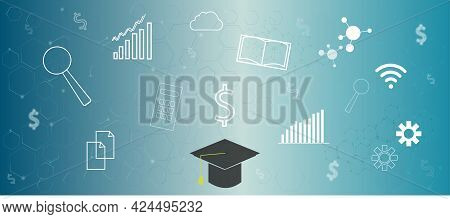Cost Education , Financial Futuristic Interface With Graduation Hat And Graduate Student Loan Icon.