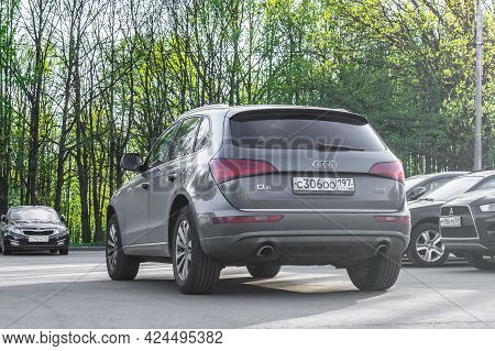 Moscow, Russia - June 2021: Audi Q5 Suv Rear Side View. Gray Crossover Suv Parked On The Background