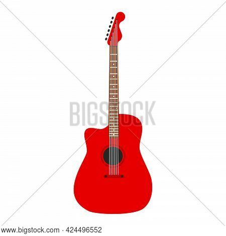 Acoustic Guitar Music Instrument With String Vector Icon. Retro Musical Guitar Equipment Sound. Wood