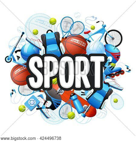 Summer Sports Cartoon Concept With Sports Equipment And Outfit Vector Illustration