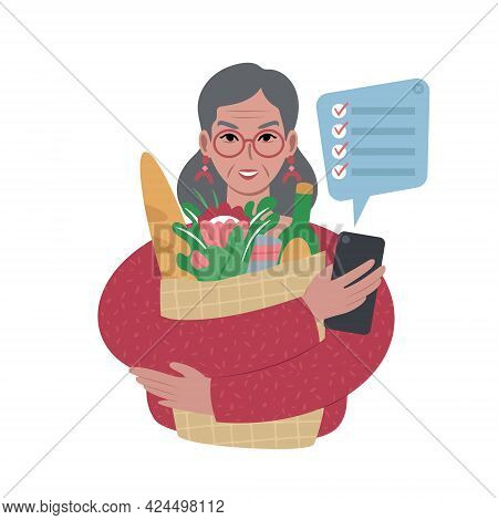 Senior Lady With Groceries Bag And A Shopping List On A Smartphone.