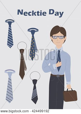 Postcard For The Necktie Day With A Businessman