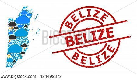Weather Pattern Map Of Belize, And Scratched Red Round Seal. Geographic Vector Mosaic Map Of Belize