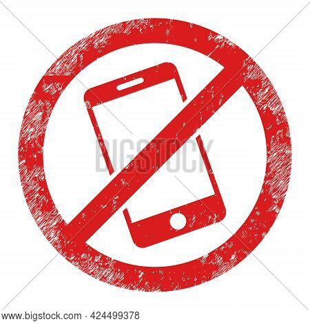 Smartphone Restricted Icon With Grunge Effect. Isolated Raster Smartphone Restricted Icon Image With