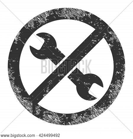 Avoid Repair Icon With Scratched Style. Isolated Raster Avoid Repair Icon Image With Scratched Rubbe