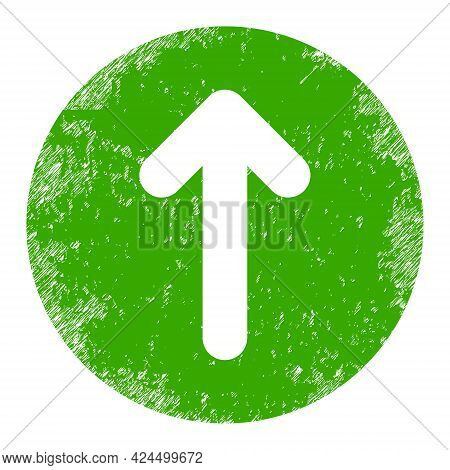 Up Direction Icon With Scratched Effect. Isolated Raster Up Direction Pictogram With Scratched Rubbe
