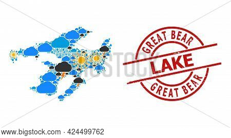 Climate Mosaic Map Of Great Bear Lake, And Grunge Red Round Badge. Geographic Vector Mosaic Map Of G