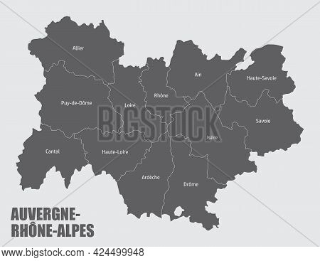 Auvergne-rhone-alpes Administrative Map Divided In Departments With Labels, France
