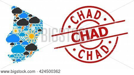 Climate Pattern Map Of Chad, And Textured Red Round Seal. Geographic Vector Mosaic Map Of Chad Is De