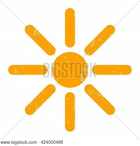 Sunshine Icon With Scratched Effect. Isolated Raster Sunshine Symbol With Scratched Rubber Texture O