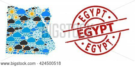 Weather Collage Map Of Egypt, And Rubber Red Round Stamp Seal. Geographic Vector Collage Map Of Egyp