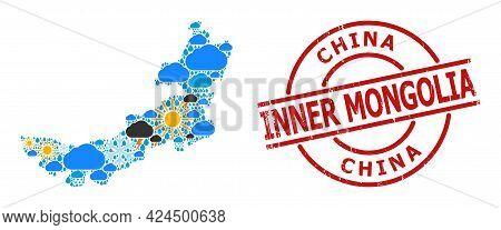 Climate Collage Map Of Inner Mongolia, And Rubber Red Round Stamp Seal. Geographic Vector Collage Ma