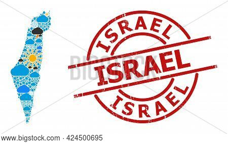 Weather Mosaic Map Of Israel, And Textured Red Round Badge. Geographic Vector Mosaic Map Of Israel I