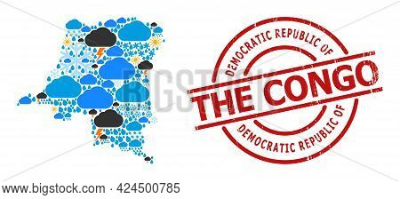 Weather Mosaic Map Of Democratic Republic Of The Congo, And Distress Red Round Stamp. Geographic Vec