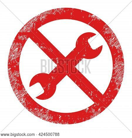 Forbidden Repair Icon With Grunge Style. Isolated Raster Forbidden Repair Icon Image With Grunge Rub