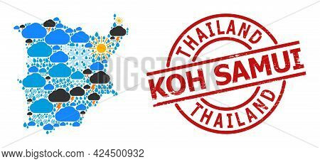 Climate Mosaic Map Of Koh Samui, And Grunge Red Round Stamp Seal. Geographic Vector Composition Map