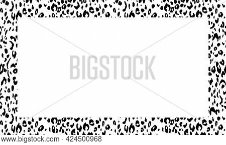 Black And White Frame With Modern Ornament Of Stylized Leopard Skin. Squared Pattern In Form Of Mand