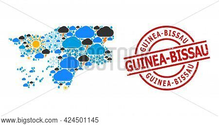 Climate Mosaic Map Of Guinea-bissau, And Grunge Red Round Seal. Geographic Vector Composition Map Of