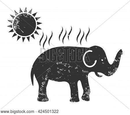 Elephant Under Sun Heat Icon With Scratched Style. Isolated Raster Elephant Under Sun Heat Pictogram