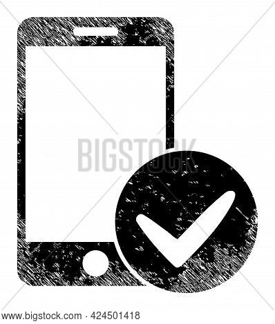 Approved Smartphone Icon With Grunge Effect. Isolated Raster Approved Smartphone Icon Image With Gru